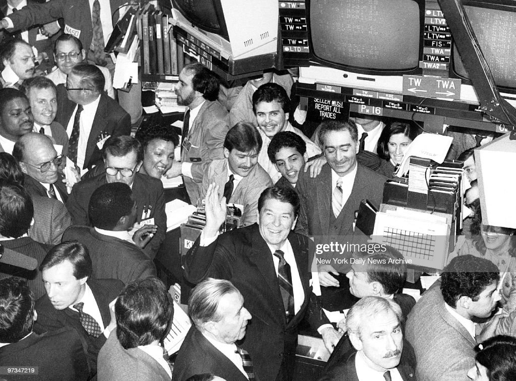 President Ronald Reagan stands on the floor of the New York Stock Exchange.