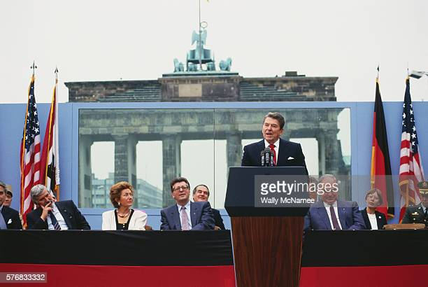 President Ronald Reagan used the setting in front of the Brandenburg Gate in West Berlin on June 12 1987 to make his famous speech saying 'Mr...