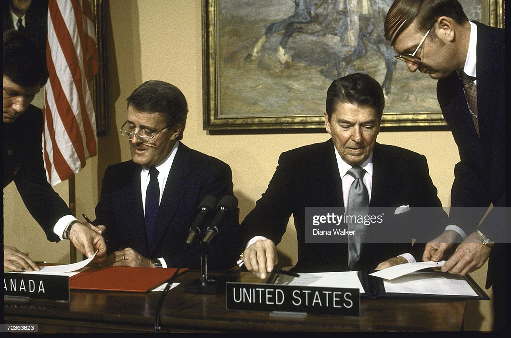 Pres Ronald Reagan R W Canadian Pm Brian Mulroney During Pictures