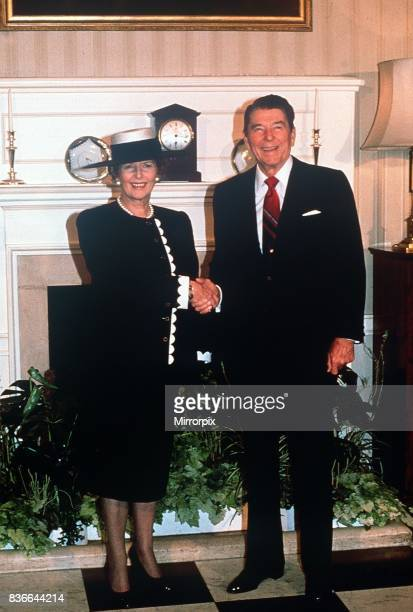President Ronald Regan June 1988 visit to England with Margaret Thatcher at No 10 Downing Street London