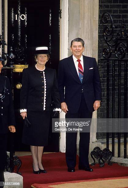 US President Ronald W Reagan and British Prime Minister Margaret Thatcher outside 10 Downing Street London on June 2 1988