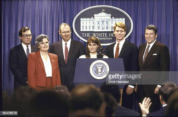 US President Ronald W Reagan announcing Judge Anthony M Kennedy's nomination to the Supreme Court while Kennedy's family watches