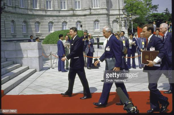 President Ronald W. Reagan arriving at Akasaka Palace with red carpet treatment for Economic Summit.