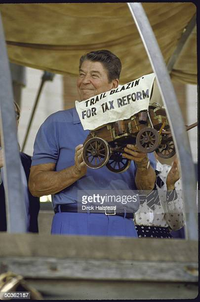 US President Ronald W Reagan campaigning for his proposed Tax Reform