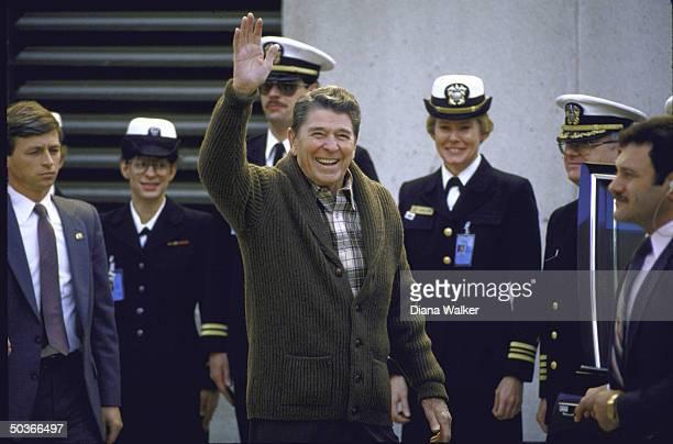 US President Ronald W Reagan departing for Bethaeda hospital regarding his prostate problem