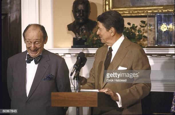 President Ronald W Reagan presents pianist Vladimir Horowitz with Medal of Freedom