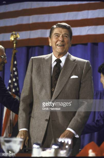 US President Ronald W Reagan speaking at a fundraiser for Senate Candidate Linda Chavez's campaign