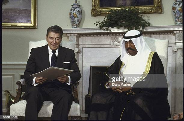 President Ronald with Reagan talking with Kuwaiti Crown Prince Saad Abdullah al Salem al Sabah in the White House