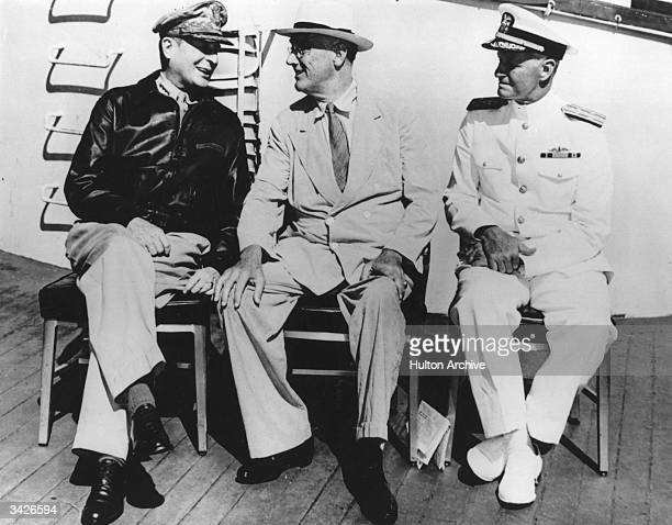 President Roosevelt and General MacArthur in relaxed mood