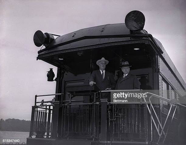 President Roosevelt and Secretary of the Interior Harold Ickes shown at Hyde Park NY Sept 29 as the President's special train left for Syracuse NY...