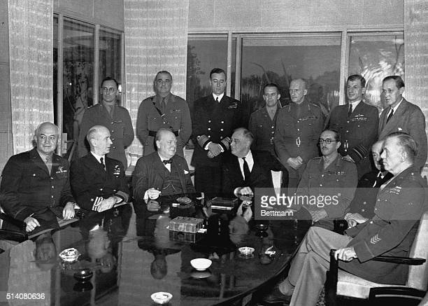 President Roosevelt, British Prime Minister Churchill and the high-ranking military officers who moved for the unconditional surrender of the Axis...