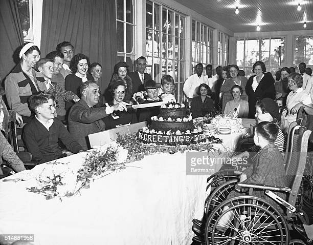 President Roosevelt celebrates his 51st birthday at his Warm Springs home in the company of patients from the Warm Springs Foundation To the left...
