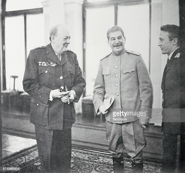 President Roosevelt, Prime Minister Churchill and Marshal Stalin met at Yalta in the Crimea. Photograph was taken at the Livadia Palace where the...