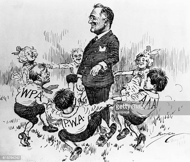 President Roosevelt stands in the middle of a group of children playing ringaroundtherosie symbolizing the New Deal programs Roosevelt has created...