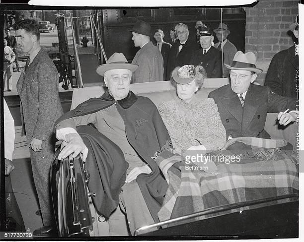 President Roosevelt whose vacation at the Warm Springs Foundation was cut short by a worsening of Japanese American affairs is shown as he rushed...