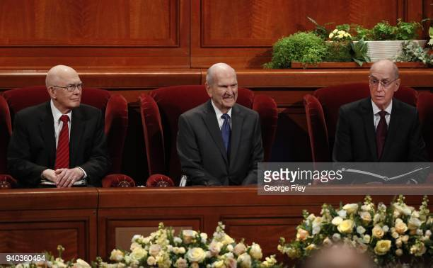 President Russell M Nelson 1st Councilor Dallin H Oaks and 2nd Councilor Henry B Eyring wait for the start of the first session of the 188th Annual...