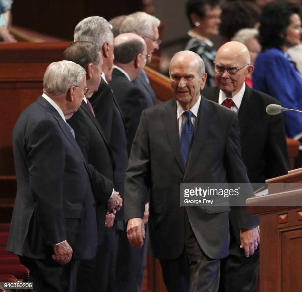 President Russell M Nelson 1st Councilor Dallin H Oaks walks past Mormon Apostles into the first session of the 188th Annual General Conference of...