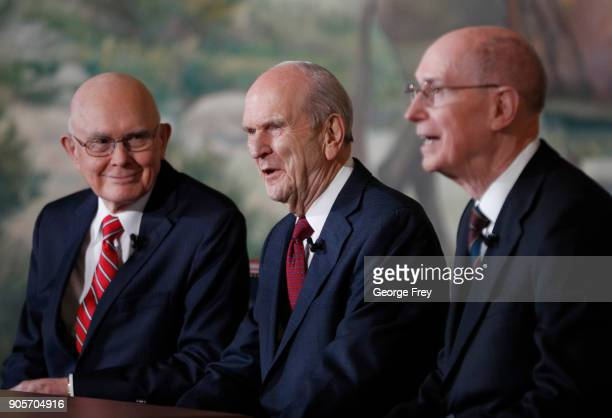 President Russell M Nelson 1st Counselor Dallin H Oaks and 2nd Counselor Henry B Eyring of the First Presidency of the Church of Jesus Christ of...