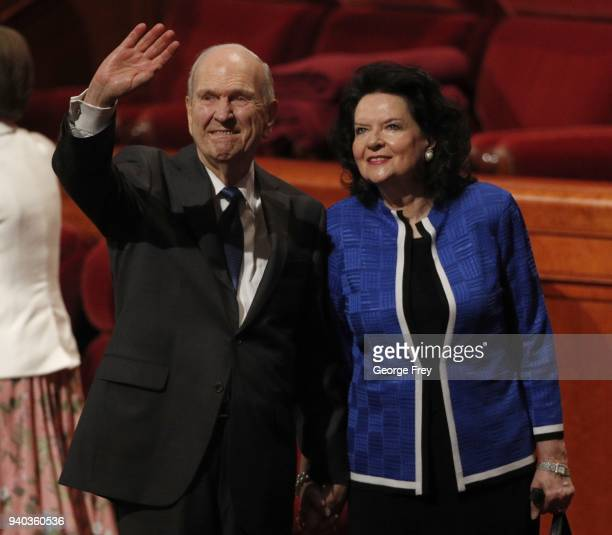 President Russell M Nelson and his wife Wendy waves to attendees after first session of the 188th Annual General Conference of the Church of Jesus...