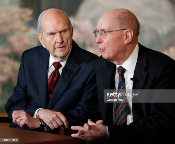 President Russell M Nelson listens to 2nd Counselor Henry B Eyring of the First Presidency of the Church of Jesus Christ of Latter Day Saints at a...