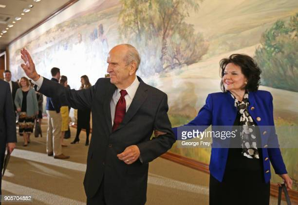 President Russell M Nelson of the Church of Jesus Christ of Latter Day Saints and his wife Wendy L Watson Nelson wave as they leave a press...