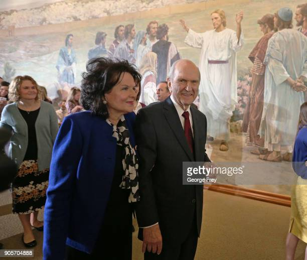 President Russell M Nelson of the Church of Jesus Christ of Latter Day Saints and his wife Wendy L Watson Nelson leave a press conference where they...