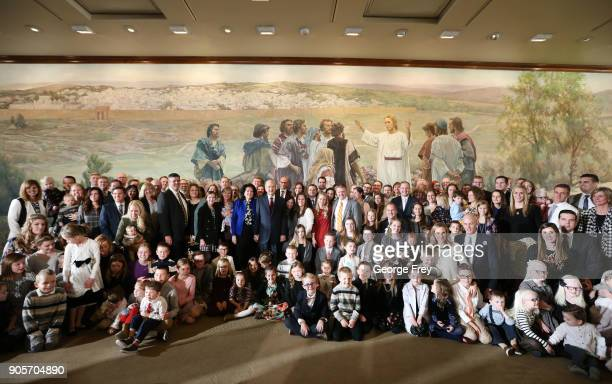 President Russell M Nelson of the Church of Jesus Christ of Latter Day Saints and his wife Wendy L Watson Nelson has his picture taken with family...