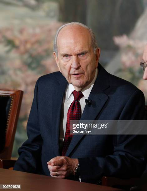 President Russell M Nelson of the Church of Jesus Christ of Latter Day Saints answerer question from the press after Nelson was announced as the 17th...