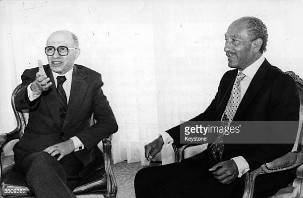 President Sadat of Egypt meets Prime Minister Menachem Begin of Israel for talks on the normalisation of relationships between their two countries....