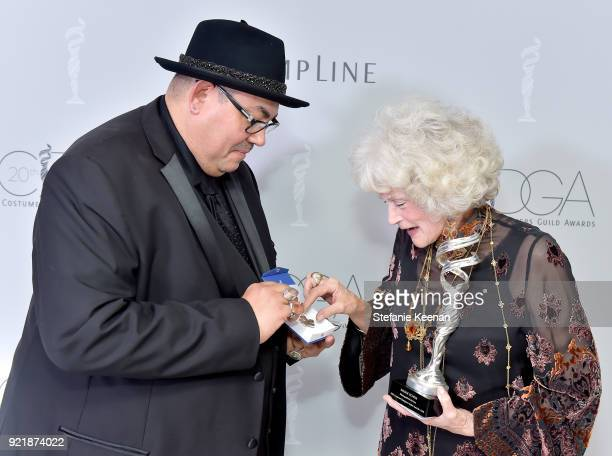 President Salvador Perez and honoree Maggie Schpak attend the Costume Designers Guild Awards at The Beverly Hilton Hotel on February 20 2018 in...
