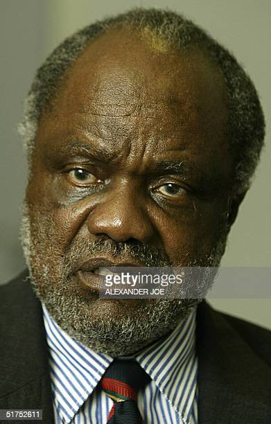 President Sam Nujoma s handpicked successor Lands Minister Hifikepunye Pohamba gestures as he gives an interview to AFP 16 November 2004 in Windhoek...