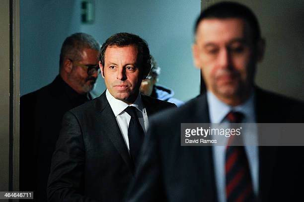 President Sandro Rosell and FCB VicePresident Josep Maria Bartomeu arrives to the press conference announcing his resgination as FCB president on...
