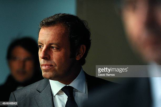 President Sandro Rosell arrives to the press conference announcing his resgination as FCB president on January 23 2014 in Barcelona Spain FCB...