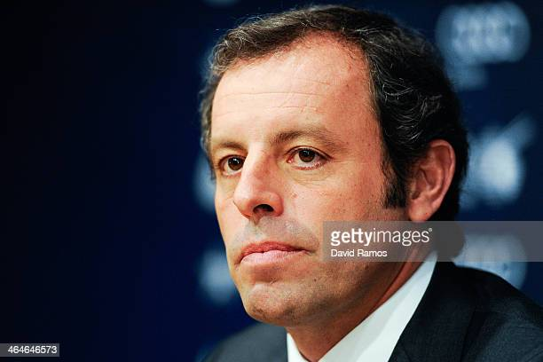 President Sandro Rosell looks on during the press conference announcing his resgination as FCB president on January 23 2014 in Barcelona Spain FCB...