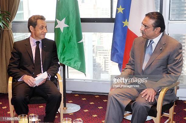 President Sarkozy meets with Pakistan's President Asif Ali Zardari In New York, United States On September 23, 2008-President Nicolas Sarkozy meets...