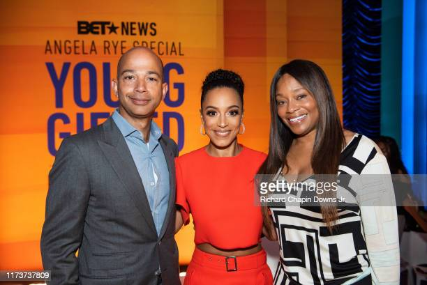 President Scott M Mills Angela Rye and BET Head of Programming Connie Orlando during BET News presents an Angela Rye Special Young Gifted and Broke...