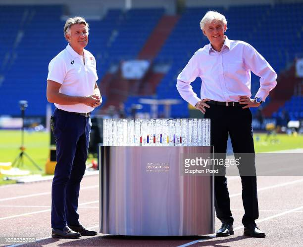 President Sebastian Coe and LOC Czech Athletic Federation President Libor Varhinak pose with the Continental Cup prior to the IAAF Continental Cup at...