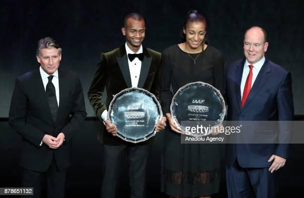 IAAF President Sebastian Coe Male Athlete of the Year Mutaz Essa Barshim of Qatar female athlete of the year Nafissatou Thiam of Belgium and Prince...