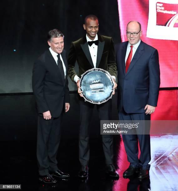IAAF President Sebastian Coe Male Athlete of the Year Mutaz Essa Barshim of Qatar and Prince of Monaco Albert II pose during the IAAF Athletics...
