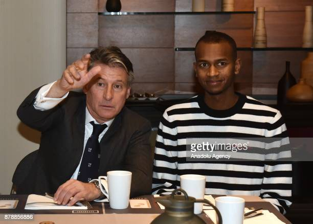 President Sebastian Coe meets male Athlete of the Year Mutaz Essa Barshim of Qatar at breakfast during the IAAF Council Meeting in Monaco Monaco on...