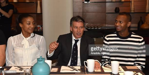 President Sebastian Coe meets male Athlete of the Year Mutaz Essa Barshim of Qatar and female athlete of the year Nafissatou Thiam of Belgium at...