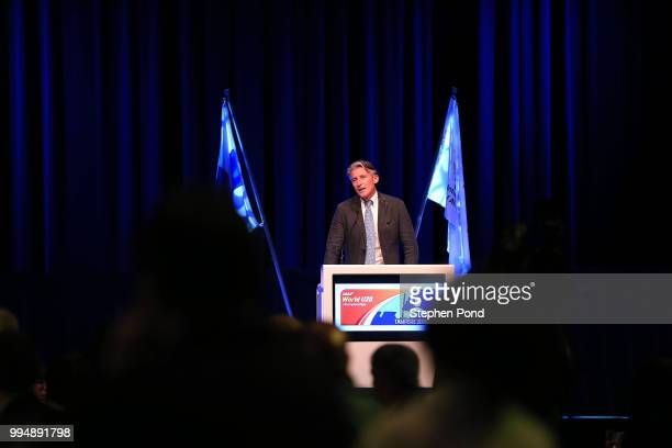 President Sebastian Coe speaks during a welcome dinner ahead of the IAAF World U20 Championships on July 9 2018 in Tampere Finland