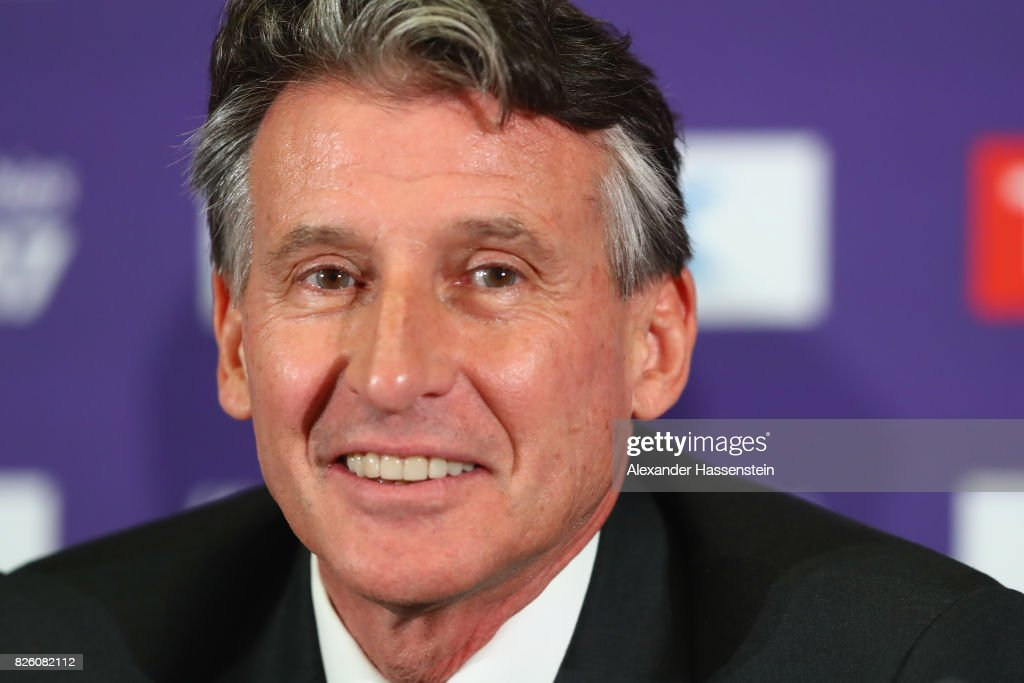 President Sebastian Coe speaks to the media during a IAAF/LOC Press Conference at the at ExCel on August 3, 2017 in London, England.