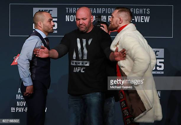 UFC president seperates Eddie Alvarez and Conor McGregor during the UFC 205 press conference at The Theater at Madison Square Garden on November 10...