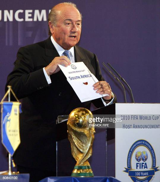 "President Sepp Blatter announces ""The 2010 World Cup will be organised by South Africa,""15 May 2010 at the FIFA headquarters in Zurich. South Africa..."