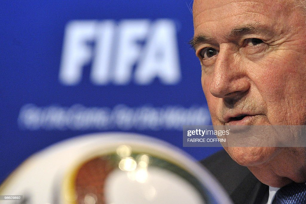 FIFA president Sepp Blatter ansewers to a question during a press conference on April 23, 2010 at the football's governing body headquarters in Zurich, 48 days before the beginning of the football tournament hosted by South Africa from June 11 to Jully 11, 2010.