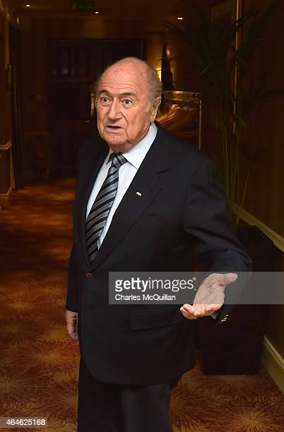 President Sepp Blatter arrives for meetings at the Culloden Hotel on February 27 2015 in Belfast Northern Ireland Blatter is attending the...