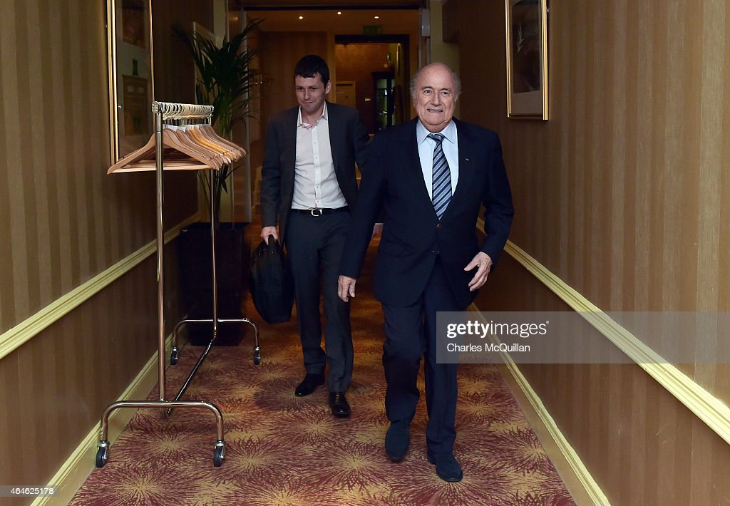 Sepp Blatter Arrives in Belfast Ahead of the The International Football Association Board AGM : News Photo
