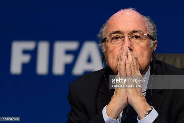 President Sepp Blatter attends a press conference on May 30, 2015 in Zurich after being re-elected during the FIFA Congress. Blatter said he was...