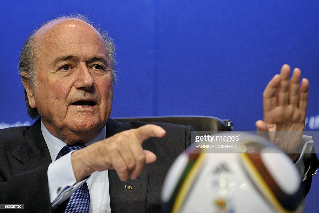 FIFA president Sepp Blatter gestures during a press conference on April 23, 2010 at the football's governing body headquarters in Zurich, 48 days before the beginning of the football tournament hosted by South Africa from June 11 to Jully 11, 2010.